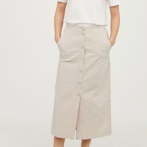 H&M Linen Button Up Midi Skirt